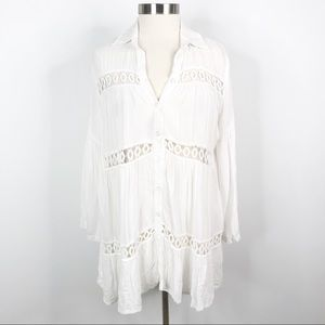 Boutique Eyelet Button Front Swim Cover Up Dress